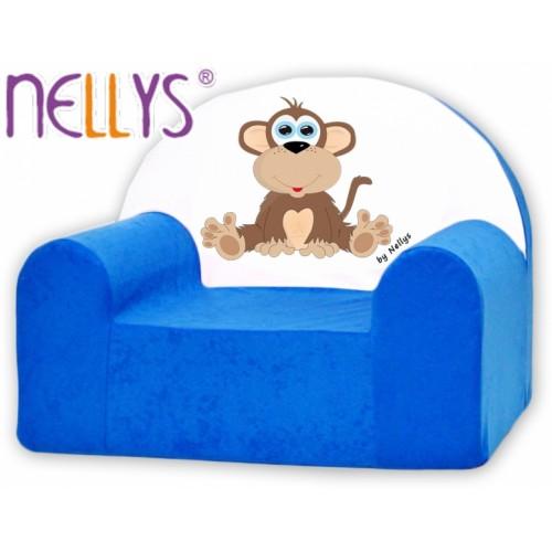 Detské kresielko / pohovečka Nellys ® - Opička Nellys modrá