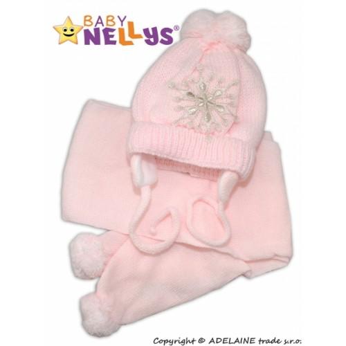 BABY NELLYS Zimná čiapočka s šálom - Snehová vločka v ružovej, 0/6m - 0/6 měsíců
