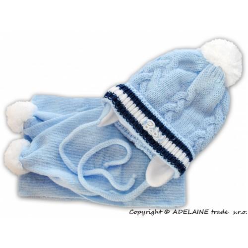 BABY NELLYS Zimná čiapočka s šálom - Baby - sv. modrá - biela brmbolce - 0/6 měsíců