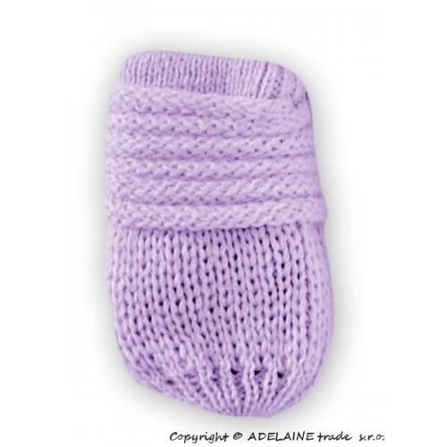 BABY NELLYS Zimné pletené dojčenské rukavičky - lila - 12cm rukavičky
