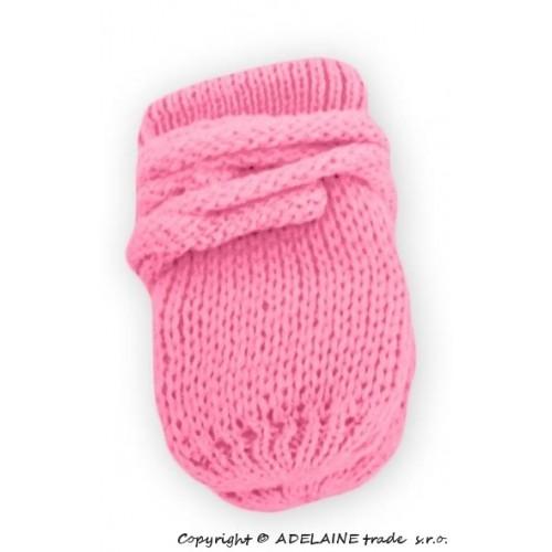 BABY NELLYS Zimné pletené dojčenské rukavičky - ružové/malinové - 56-68 (0-6 m)