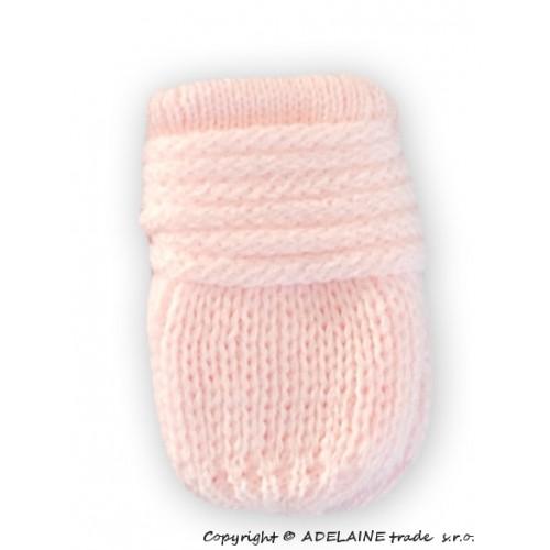 BABY NELLYS Zimné pletené dojčenské rukavičky - sv. ružové - 12cm rukavičky