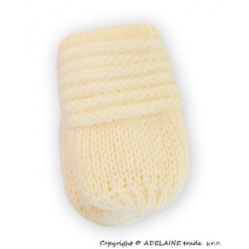 BABY NELLYS Zimné pletené dojčenské rukavičky - smotana - 12cm rukavičky