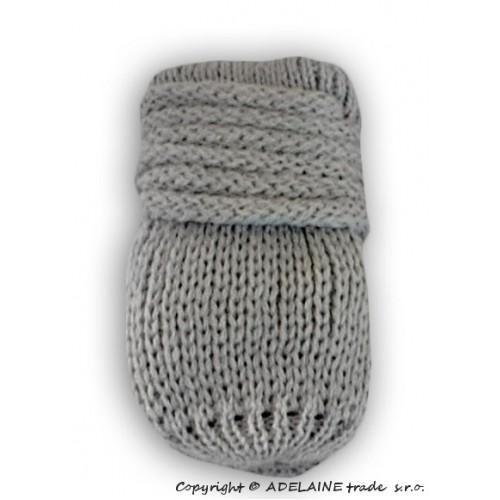 BABY NELLYS Zimné pletené dojčenské rukavičky - sv. šedé - 12cm rukavičky