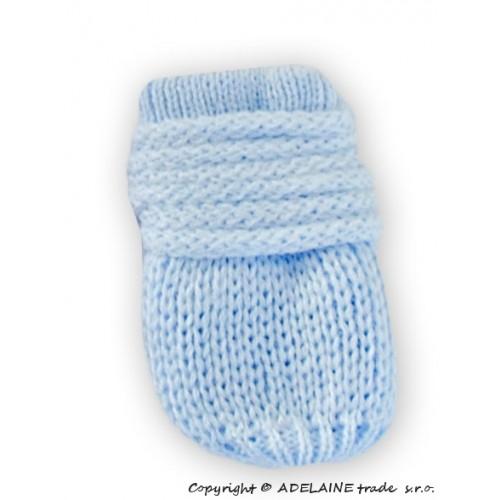BABY NELLYS Zimné pletené dojčenské rukavičky - sv. modré - 12cm rukavičky