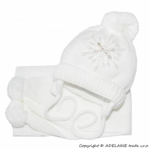 BABY NELLYS Zimná čiapočka s šálom - Snehová vločka v bielej, 0/6m - 0/6 měsíců