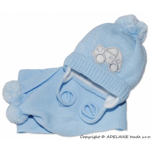 BABY NELLYS Zimná čiapočka s šálom - Autíčko sv. modré - 56-68 (0-6 m)