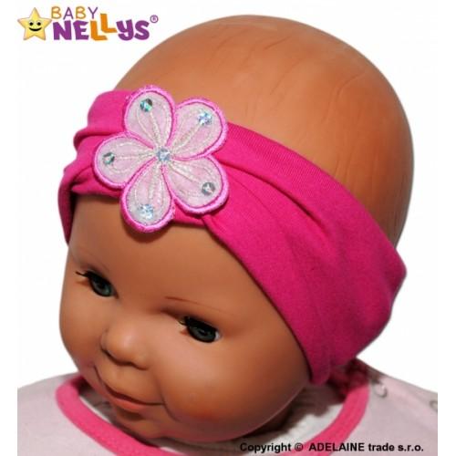 Čelenka Baby Nellys ® s kvetinkou - malinová - 38/40 čepičky obvod