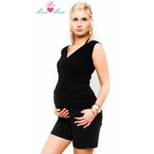 Be MaaMaa Tehotenské kraťasy Bria - čierne - L (40)