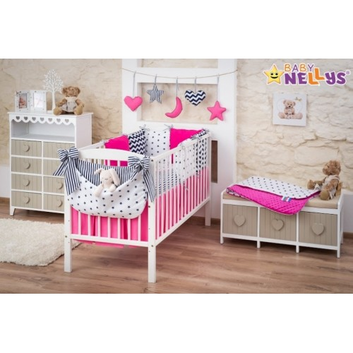 Baby Nellys Mega sada Be LOVE - Hviezdy granát / ružová - 120x90
