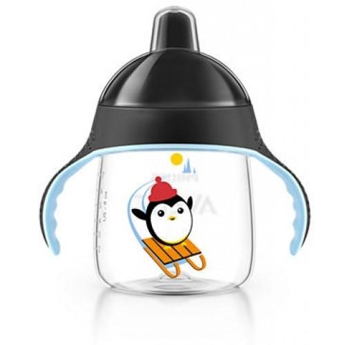 AVENT Prvý hrnček / fľaštička nekapek tučniakov - čierny