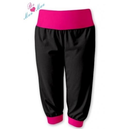 Be MaaMaa Športové 3/4 legíny CAPRI - čierne / ružové - L/XL