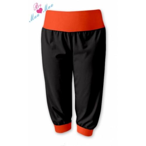 Be MaaMaa Športové 3/4 legíny CAPRI - čierne / oranž - L/XL