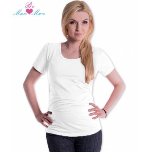 Be MaaMaa Tričko JOLY bavlna nielen pre tehotné - biele - L/XL