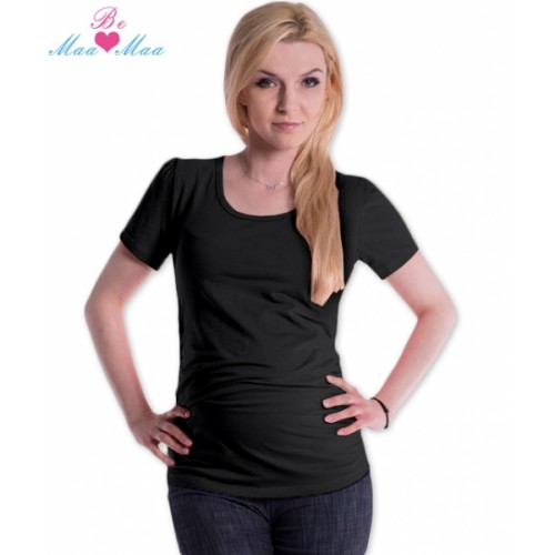 Be MaaMaa Tričko JOLY bavlna nielen pre tehotné - čierne - L/XL