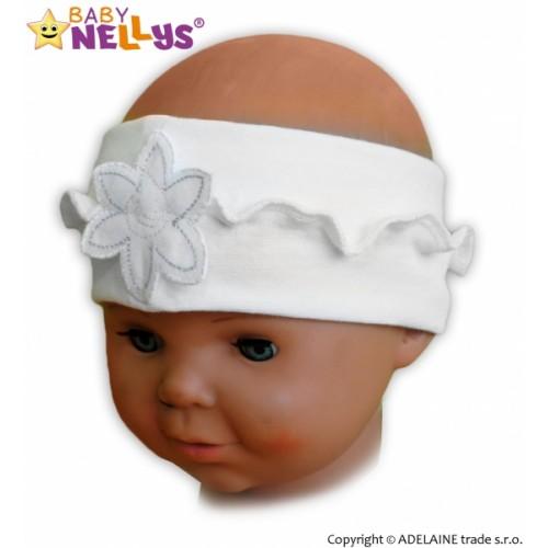 Čelenka Baby Nellys ® s kvetinkou a volánikom - biela - 12/24měsíců