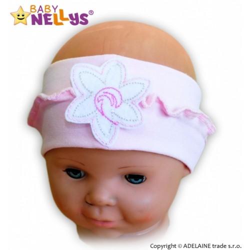 Čelenka Baby Nellys ® s kvetinkou a volánikom - sv. ružová - 12/24měsíců
