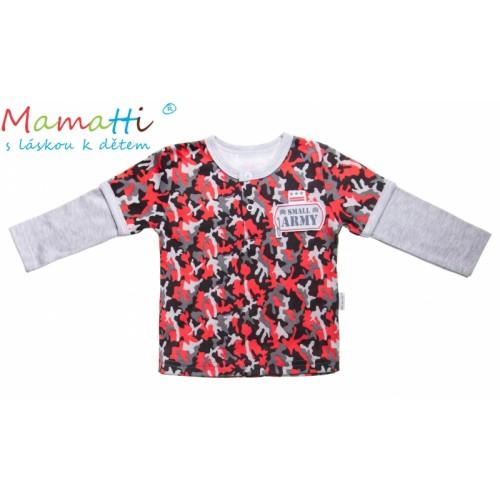Bavlnené tričko / polo Mamatti - ARMY - 74 (6-9m)