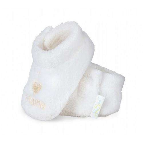 RiSocks Topánočky / capačky I LOVE Mama - biele - 68-80 (6-12m)