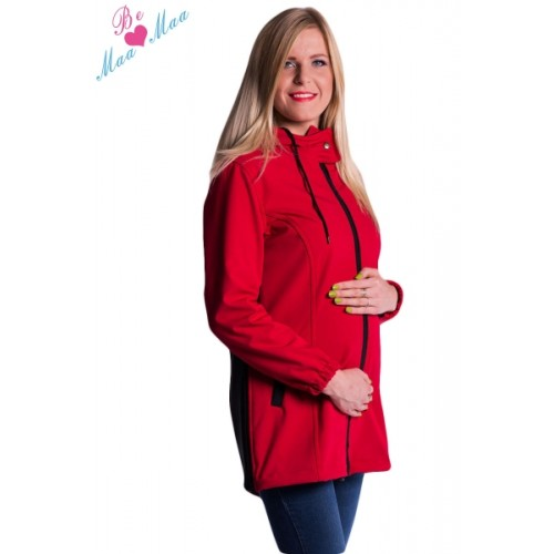 Be MaaMaa Tehotenská softshellová bunda, kabátik - červená - M (38)
