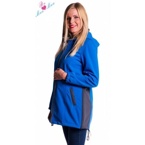 Be MaaMaa Tehotenská softshellová bunda, kabátik - modrá - L (40)