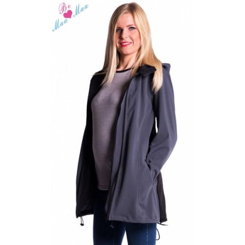 Be MaaMaa Tehotenská softshellová bunda, kabátik - sivá / grafit -  S (36)
