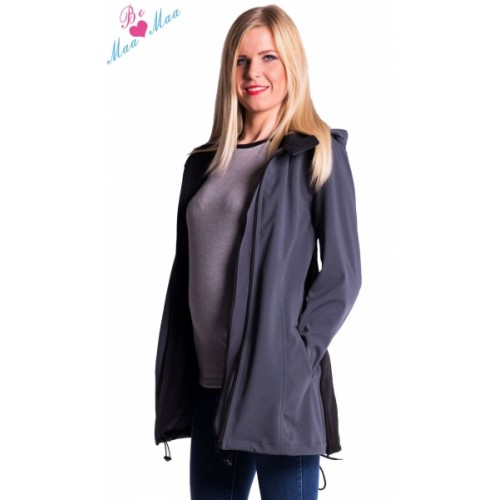 Be MaaMaa Tehotenská softshellová bunda, kabátik - sivá / grafit - M (38)