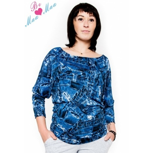 Be MaaMaa Tehotenské štýlové tričko, blúzka s JEANS vzorom - L/XL