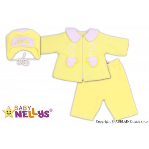 Kabátik, čiapočka a nohavice Baby Nellys ® - krémovo žltá - 74 (6-9m)
