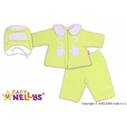 Kabátik, čiapočka a nohavice Baby Nellys ®- zelená - 62 (2-3m)