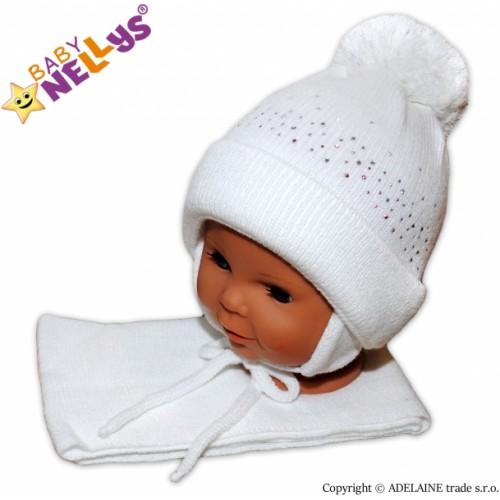 Baby Nellys Zimná čiapočka s brmbolcom a šálom - biela s kamienkami - 6/18měsíců