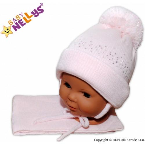 Baby Nellys Zimná čiapočka s brmbolcom a šálom - sv. ružová s kamienkami - 6/18měsíců