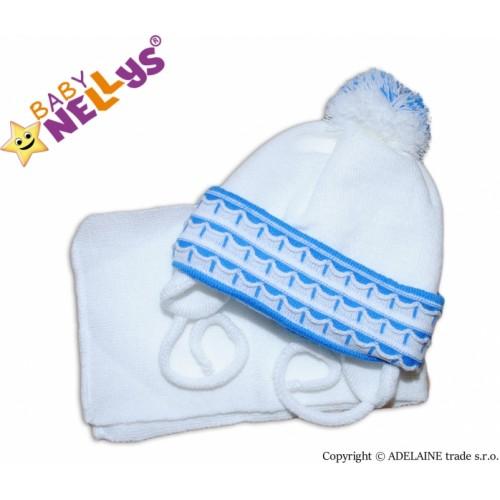 BABY NELLYS Zimná čiapočka s šálom - s imitáciou volánikmi - modrá - 62/74