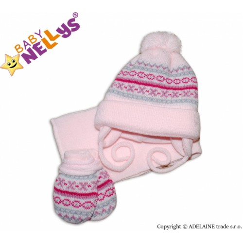 BABY NELLYS  Sada - čiapočka, šál a rukavičky - vzorovaná ružová - 3/6měsíců