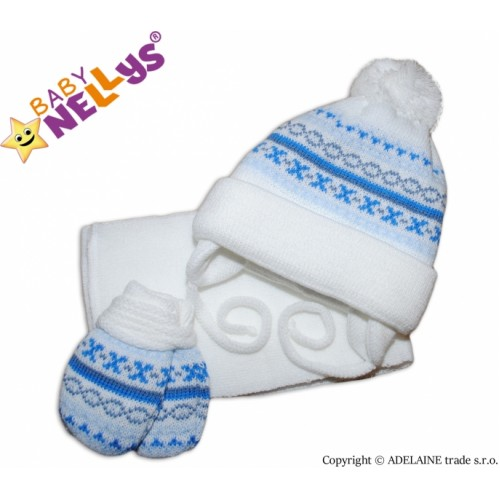 BABY NELLYS  Sada - čiapočka, šál a rukavičky - vzorovaná biela - 68 (4-6m)