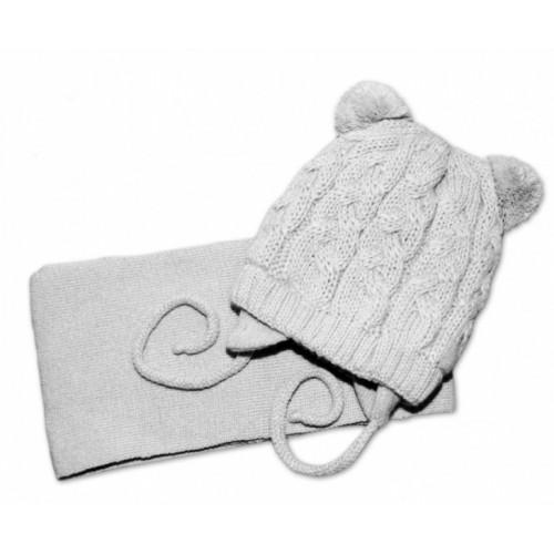 BABY NELLYS Zimná pletená čiapočka s šálom TEDDY - sivá s brmbolcami, vel. 62/68 - 62-68 (3-6m)