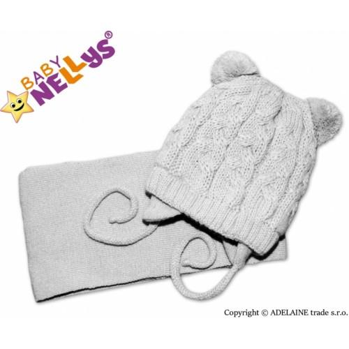 BABY NELLYS Zimná pletená čiapočka s šálom Mimi Bear - sivá s brmbolcami - 62/74