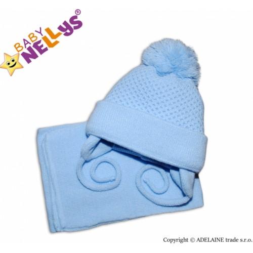 BABY NELLYS Zimná čiapočka so šálom - modrá s veľkou bambuľkou - 62-68 (3-6m)