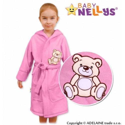Baby Nellys Detský župan - Medvedík Teddy - sv. ružový - 104 (3-4r)