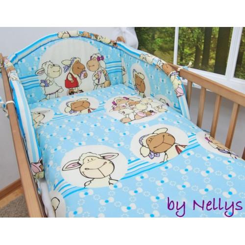 Baby Nellys Bavlnené obliečky Ovečka Jolly modrá - 120x90