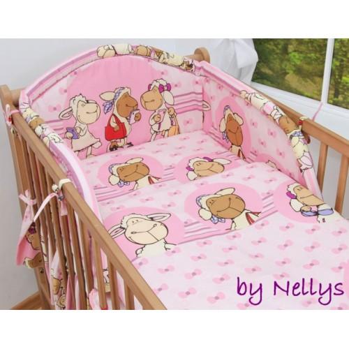 Baby Nellys Bavlnené obliečky Ovečka Jolly ružová, 135x100 cm - 135x100