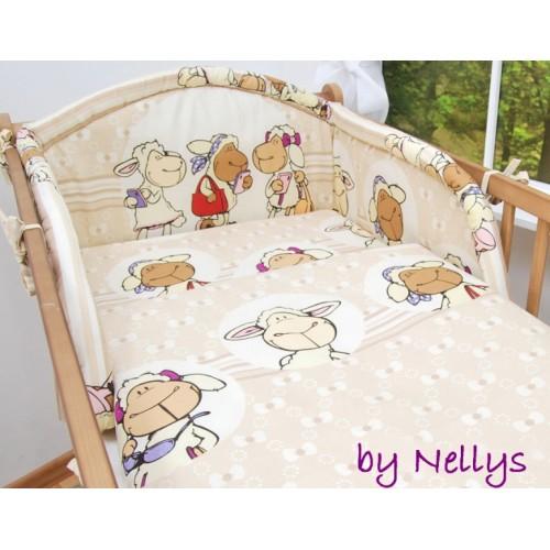Baby Nellys Bavlnené obliečky Ovečka Jolly béžová - 120x90