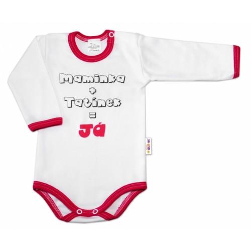 Baby Nellys Bavlněné body vel. 80, Maminka + tatínek = Já - růžový lem - 80 (9-12m)