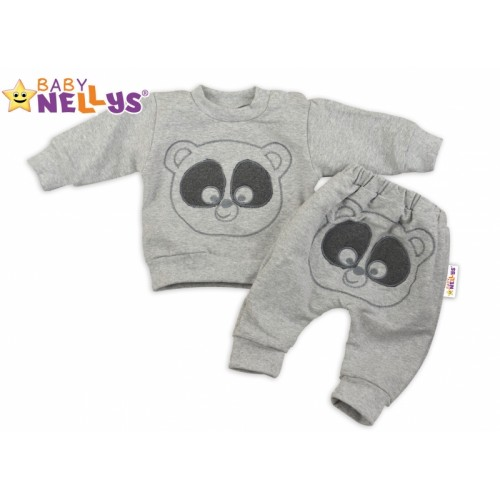 Tepláková súprava Baby Nellys -  MEDVEDÍK - sivý melír - 62 (2-3m)
