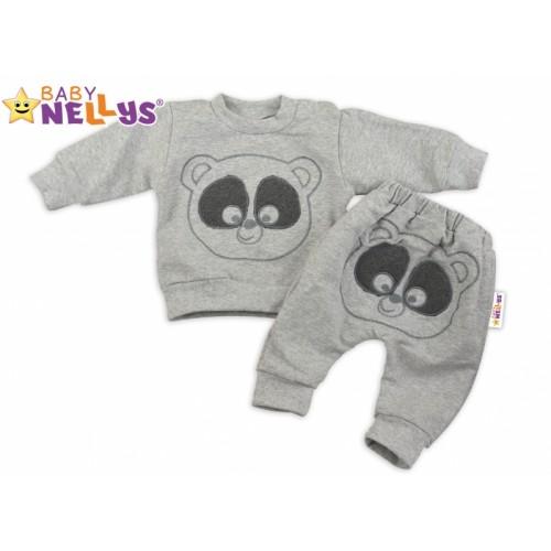 Tepláková súprava Baby Nellys -  MEDVEDÍK - sivý melír - 80 (9-12m)