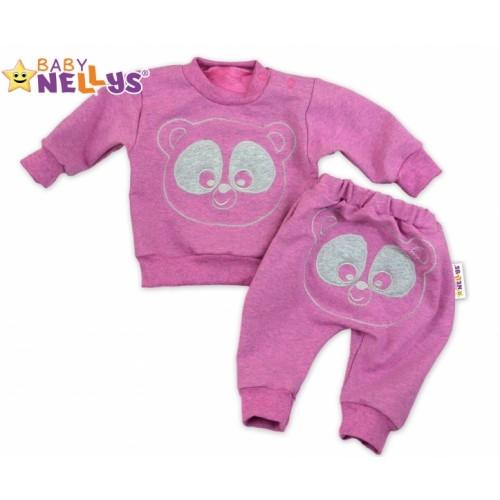 Tepláková súprava Baby Nellys -  MEDVEDÍK - růžový melír, veľ. 86 - 80 (9-12m)