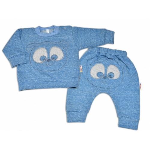 Tepláková súprava Baby Nellys -  MEDVEDÍK - modrý  melír, veľ. 86 - 86 (12-18m)