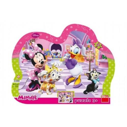 Teddies Puzzle doskové Minnie a maznáčikovia kontúra 35x28cm 25 dielikov