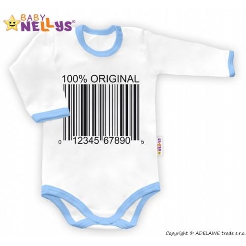 Baby Nellys Body dlhý rukáv 100% ORIGINÁL - biele / modrý lem - 80 (9-12m)