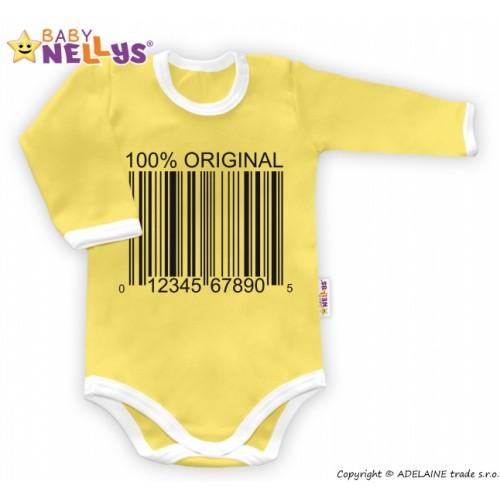 Baby Nellys Body dlhý rukáv 100% ORIGINÁL - žlté / biely lem - 86 (12-18m)